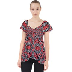 Exotic Intricate Modern Pattern Lace Front Dolly Top