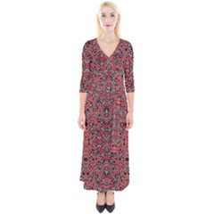 Exotic Intricate Modern Pattern Quarter Sleeve Wrap Maxi Dress