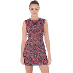 Exotic Intricate Modern Pattern Lace Up Front Bodycon Dress