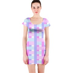Gingham Nursery Baby Blue Pink Short Sleeve Bodycon Dress