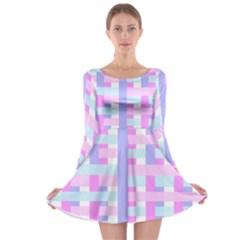 Gingham Nursery Baby Blue Pink Long Sleeve Skater Dress