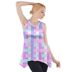 Gingham Nursery Baby Blue Pink Side Drop Tank Tunic