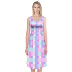 Gingham Nursery Baby Blue Pink Midi Sleeveless Dress