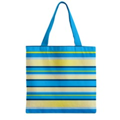 Stripes Yellow Aqua Blue White Zipper Grocery Tote Bag