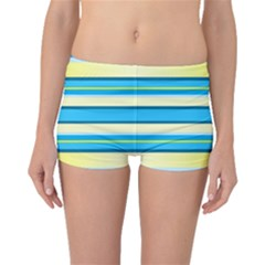 Stripes Yellow Aqua Blue White Boyleg Bikini Bottoms