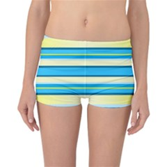 Stripes Yellow Aqua Blue White Reversible Boyleg Bikini Bottoms