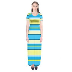 Stripes Yellow Aqua Blue White Short Sleeve Maxi Dress