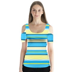 Stripes Yellow Aqua Blue White Butterfly Sleeve Cutout Tee