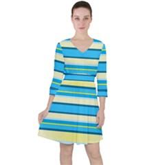 Stripes Yellow Aqua Blue White Ruffle Dress