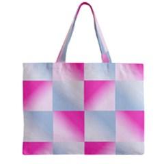 Gradient Blue Pink Geometric Zipper Mini Tote Bag