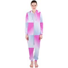 Gradient Blue Pink Geometric Hooded Jumpsuit (ladies)