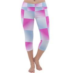 Gradient Blue Pink Geometric Capri Yoga Leggings
