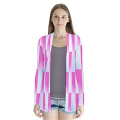 Gradient Blue Pink Geometric Drape Collar Cardigan