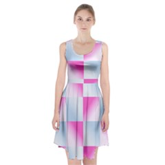Gradient Blue Pink Geometric Racerback Midi Dress
