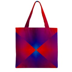 Geometric Blue Violet Red Gradient Zipper Grocery Tote Bag
