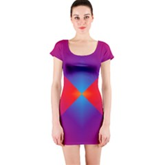 Geometric Blue Violet Red Gradient Short Sleeve Bodycon Dress