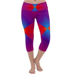 Geometric Blue Violet Red Gradient Capri Yoga Leggings
