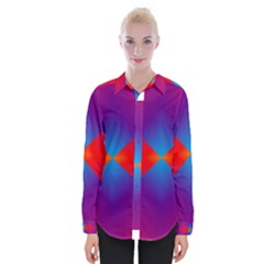 Geometric Blue Violet Red Gradient Womens Long Sleeve Shirt