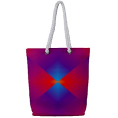 Geometric Blue Violet Red Gradient Full Print Rope Handle Tote (small)