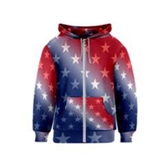America Patriotic Red White Blue Kids  Zipper Hoodie