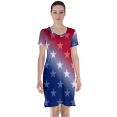 America Patriotic Red White Blue Short Sleeve Nightdress