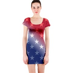 America Patriotic Red White Blue Short Sleeve Bodycon Dress