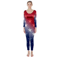 America Patriotic Red White Blue Long Sleeve Catsuit