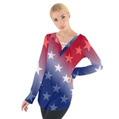 America Patriotic Red White Blue Tie Up Tee