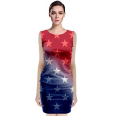 America Patriotic Red White Blue Classic Sleeveless Midi Dress