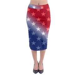 America Patriotic Red White Blue Midi Pencil Skirt