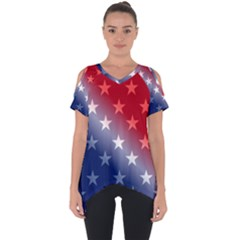 America Patriotic Red White Blue Cut Out Side Drop Tee