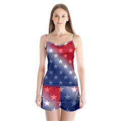 America Patriotic Red White Blue Satin Pajamas Set