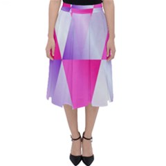 Gradient Geometric Shiny Light Folding Skater Skirt