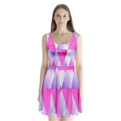 Gradient Geometric Shiny Light Split Back Mini Dress
