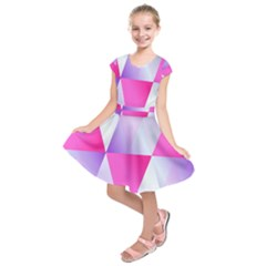 Gradient Geometric Shiny Light Kids  Short Sleeve Dress