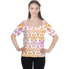 Geometric Abstract Orange Purple Cutout Shoulder Tee