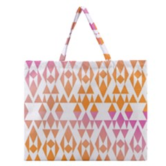 Geometric Abstract Orange Purple Zipper Large Tote Bag