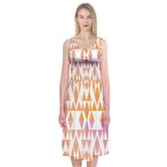 Geometric Abstract Orange Purple Midi Sleeveless Dress