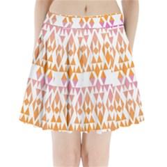 Geometric Abstract Orange Purple Pleated Mini Skirt