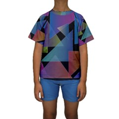 Triangle Gradient Abstract Geometry Kids  Short Sleeve Swimwear