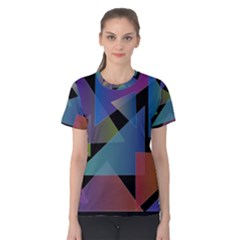 Triangle Gradient Abstract Geometry Women s Cotton Tee