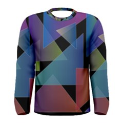 Triangle Gradient Abstract Geometry Men s Long Sleeve Tee