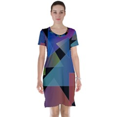 Triangle Gradient Abstract Geometry Short Sleeve Nightdress