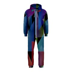 Triangle Gradient Abstract Geometry Hooded Jumpsuit (kids)