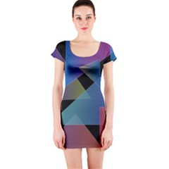 Triangle Gradient Abstract Geometry Short Sleeve Bodycon Dress