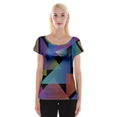 Triangle Gradient Abstract Geometry Cap Sleeve Tops