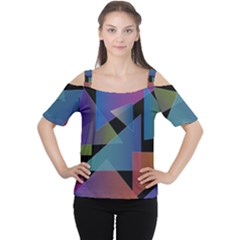 Triangle Gradient Abstract Geometry Cutout Shoulder Tee