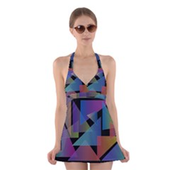 Triangle Gradient Abstract Geometry Halter Dress Swimsuit