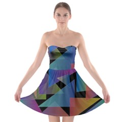 Triangle Gradient Abstract Geometry Strapless Bra Top Dress