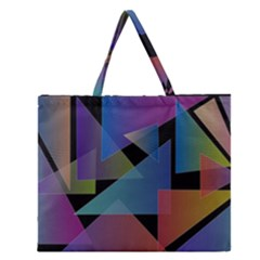 Triangle Gradient Abstract Geometry Zipper Large Tote Bag